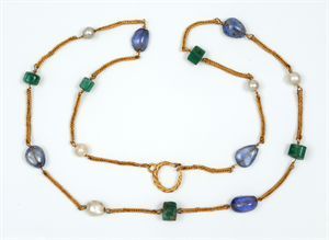 Image of Necklace with Pearls, Sapphires, and Plasma