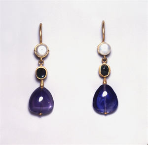 Image of Pair of Earrings with Pearls, Emeralds, and Sapphires
