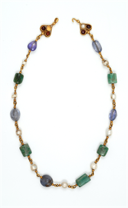 Image of Necklace with Pearls, Emerald Plasma, and Sapphires