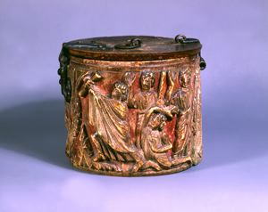 Image of Pyxis with Moses Receiving the Law and Daniel in the Lions' Den