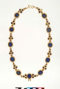Image of Necklace with Oval and Trefoil Links containing Blue Glass