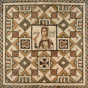 "Image of Floor Mosaic with Bust of Apolausis (""Enjoyment"")"
