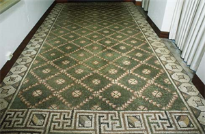Image of Floor Mosaic with Trellis Pattern (Green Carpet)