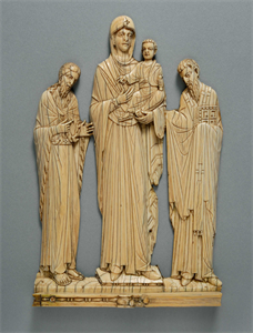 Image of Virgin Hodegetria, St. John the Baptist, and St. Basil from a plaque