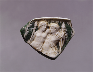 Image of Vessel Fragment with Dionysos and  a Satyr(?)