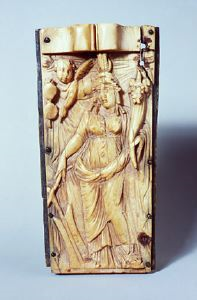 Image of Medicine Box with Dionysos, Maenad, and Satyr, and Tyche on Lid