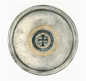 "Image of Plate with Cross and Greek Inscription ""Hope of God"""