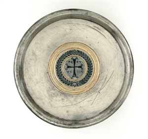 "Image of Plate with Cross and Greek Inscription ""Honor of God"""