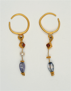 Image of Pair of Earrings with Pearls, Sapphires, and Gold Globules
