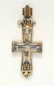 Image of Enkolpion Reliquary Cross with Crucifixion and the Virgin