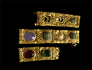 Image of Three Sections of a Necklace Set with Cabochons
