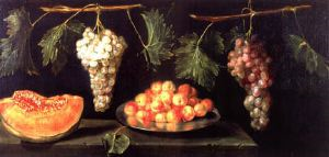 Image of Still Life with Grapes, Melon and Apricots