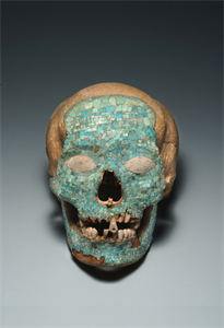Image of Human Skull With Mosaic Designs
