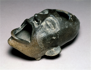 Image of Effigy Vessel of Face With Open Mouth