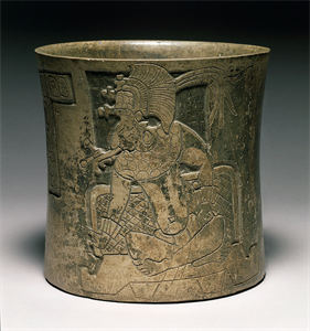 Image of Gouge-incised vase of a seated ruler