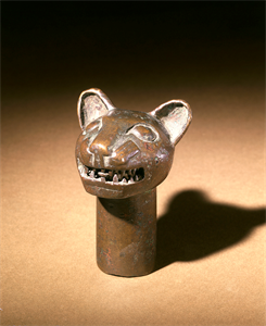 Image of Staff Finial Representing a Feline Head