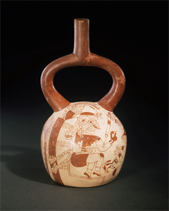 Image of Stirrup Spout Bottle With Fineline Drawing