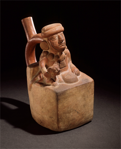 Image of Stirrup-Spout Bottle Depicting a Seated Figure with A Feline