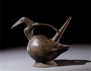 Image of Bridge-and-Spout Bottle Depicting A Bird