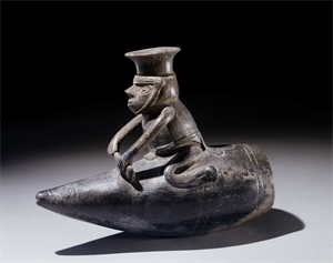 Image of Vessel Representing a Reed Boat And Rider